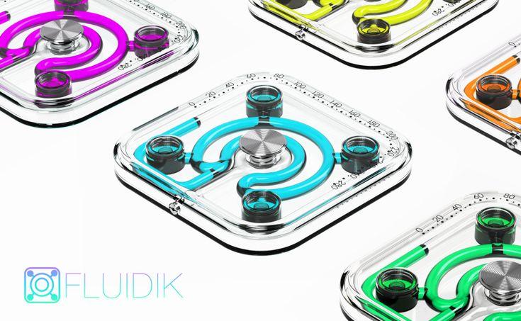 Meet Fluidik – an all-glass body weight scale that shows a user's weight via fluid dynamics.