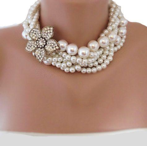 Bridal Pearl Statement Necklace - Wedding Jewelry - hameyechahiye Rhinestone and Pearl Necklace, rhinestone brooch,brooch necklace,rhinestone and pearl