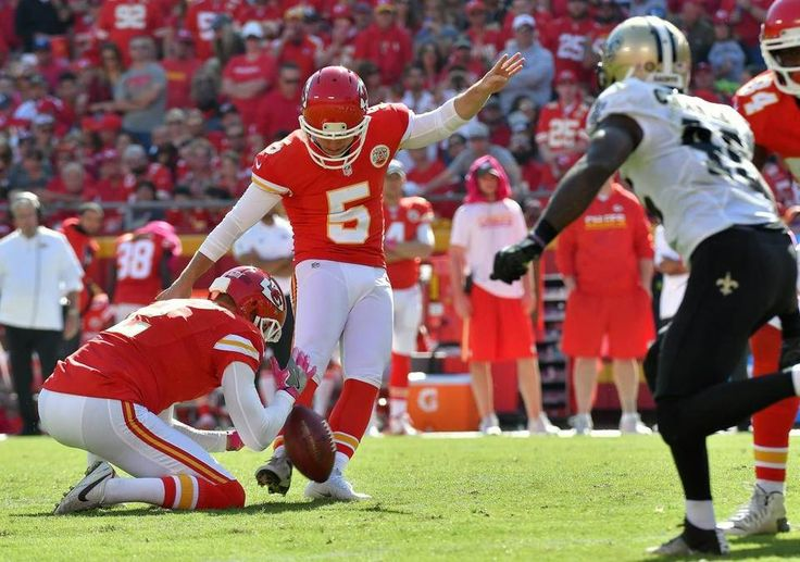 Saints vs. Chiefs  -  27-21, Chiefs  -  October 23, 2016:   Kansas City Chiefs kicker Cairo Santos kicks a third quarter field goal during Sunday's football game against the New Orleans Saints on October 23, 2016 at Arrowhead Stadium in Kansas City, Mo.