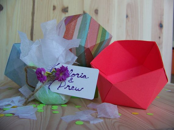 Wedding candy box favor box geometric box by HomeNWeddings on Etsy