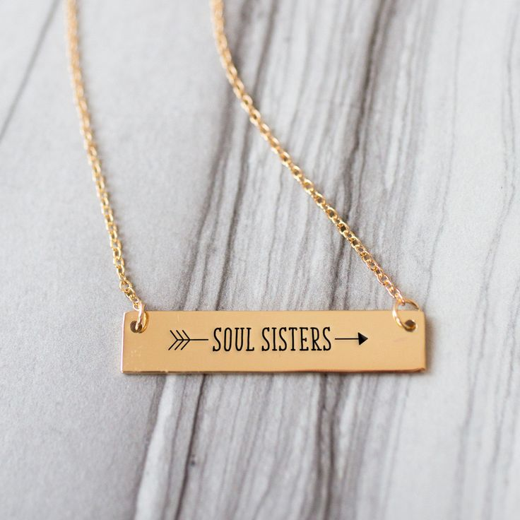 Soul Sister Arrow Gold Bar Necklace - Sister Gifts