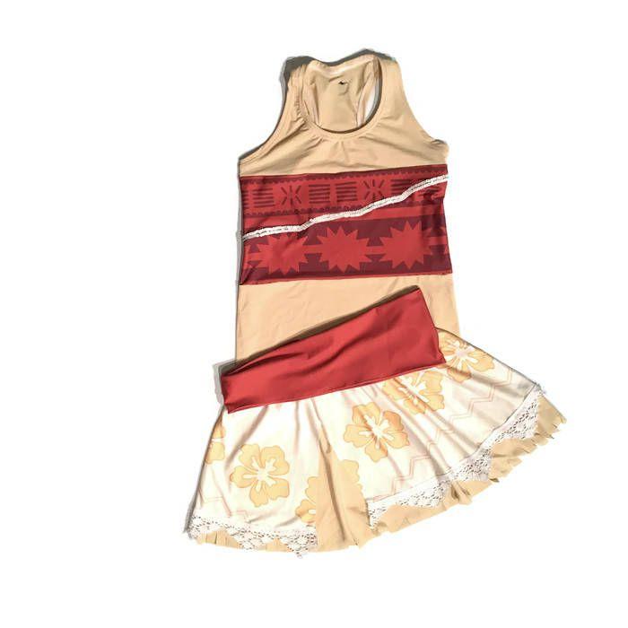 Disney Moana inspired running costume- shirt and skirt running costume by RockCitySkirts on Etsy