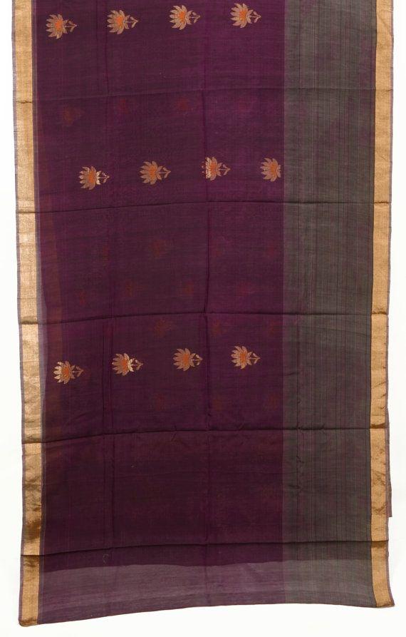 Living Room Inspiration Zari Floral Purple Fabric Saree Vintage Indian Textile