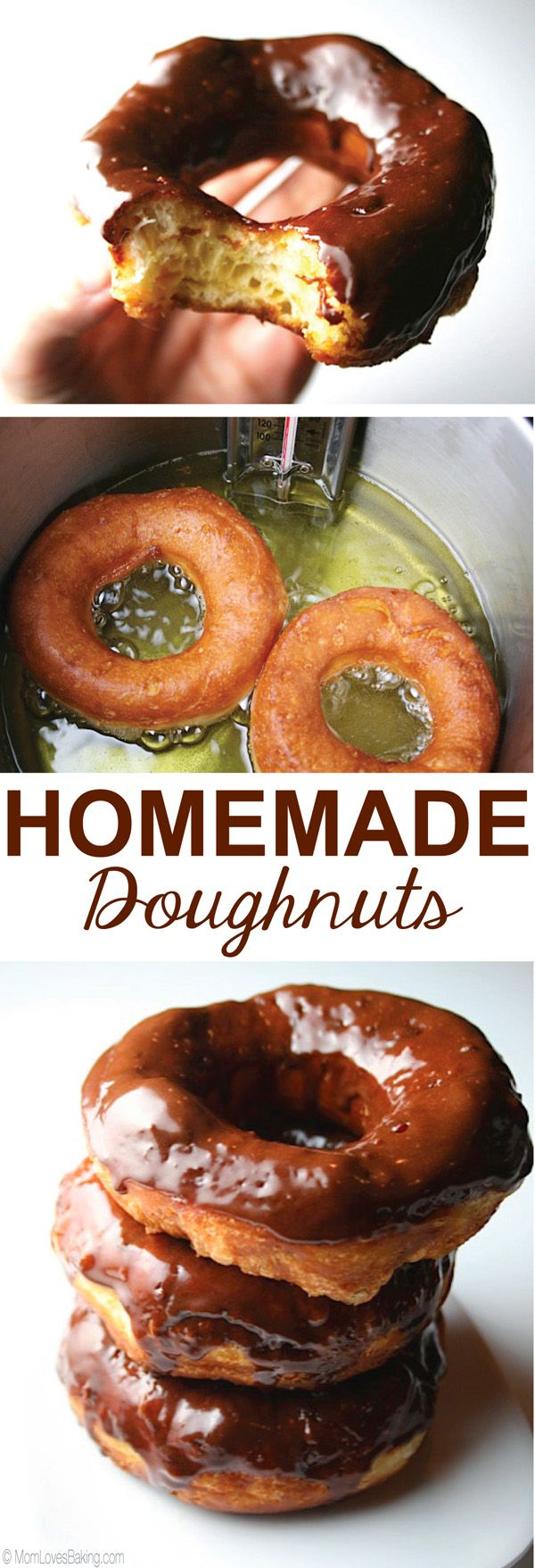 Homemade Doughnuts are canned biscuits shaped into donuts, fried in oil and dipped in icing or cinnamon sugar. Find the full recipe on MomLovesBaking.com