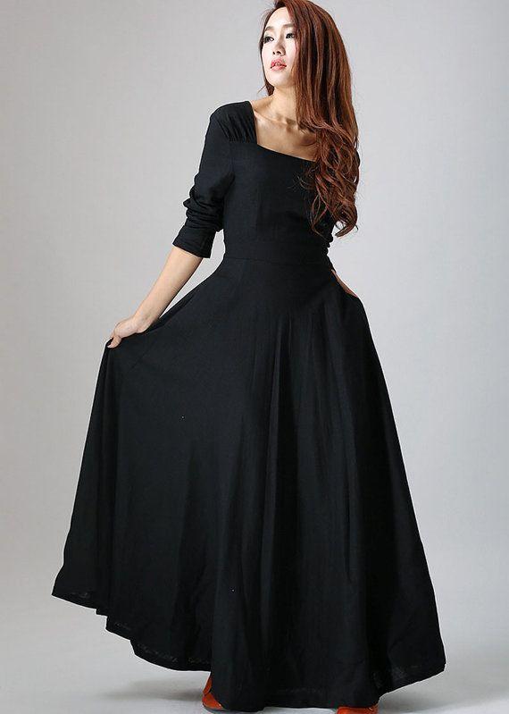 Maxi schwarz Leinen-Kleid - LBD mit vollen Flared Skirt, Prom Rock, Party Kleid, wenig Schwarzes Kleid, Custom Kleid (793)