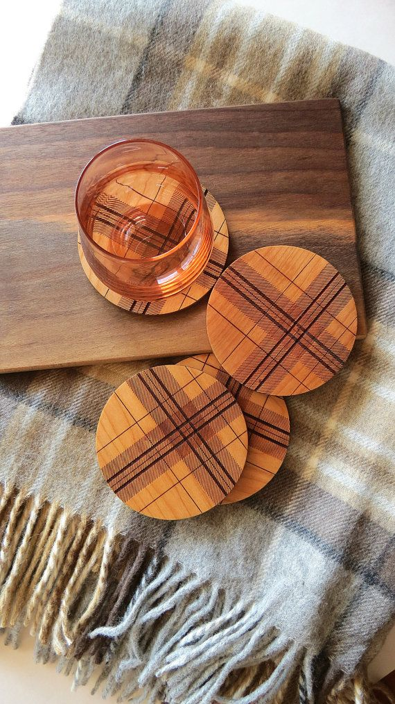 Wood Coasters, Engraved Wood Coasters, Plaid, Tartan  by GrainDEEP