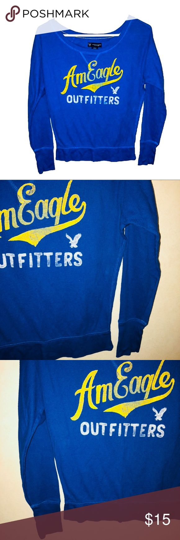 XS American Eagle Outfitters Raglan Thermal Brand: American Eagle Outfitters  Size: Extra Small  Details: very light weight. Royal blue with yellow and white graphic logo across front. Scoop slouchy neck line. Long sleeve thermal waffle material. Raglan style so it's slightly oversized as well  Condition: Like New  Material: 60% cotton 40% polyester   Feel free to bundle to SAVE! Best offers are welcome! American Eagle Outfitters Tops Tees - Long Sleeve
