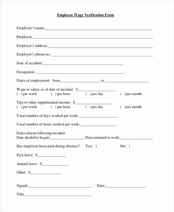 Free Employee Verification Form Template Best Of Free 9 Sample Wage Verification Forms Employment Form Employment Application Templates