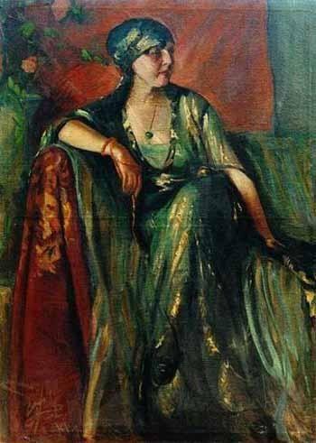 FATMA NAZLI ECEVIT (1900, Istanbul-1985 Ankara) Portrait of Keriman - Oil on canvas (138x100,5 cm.) Work code: NAEC 02