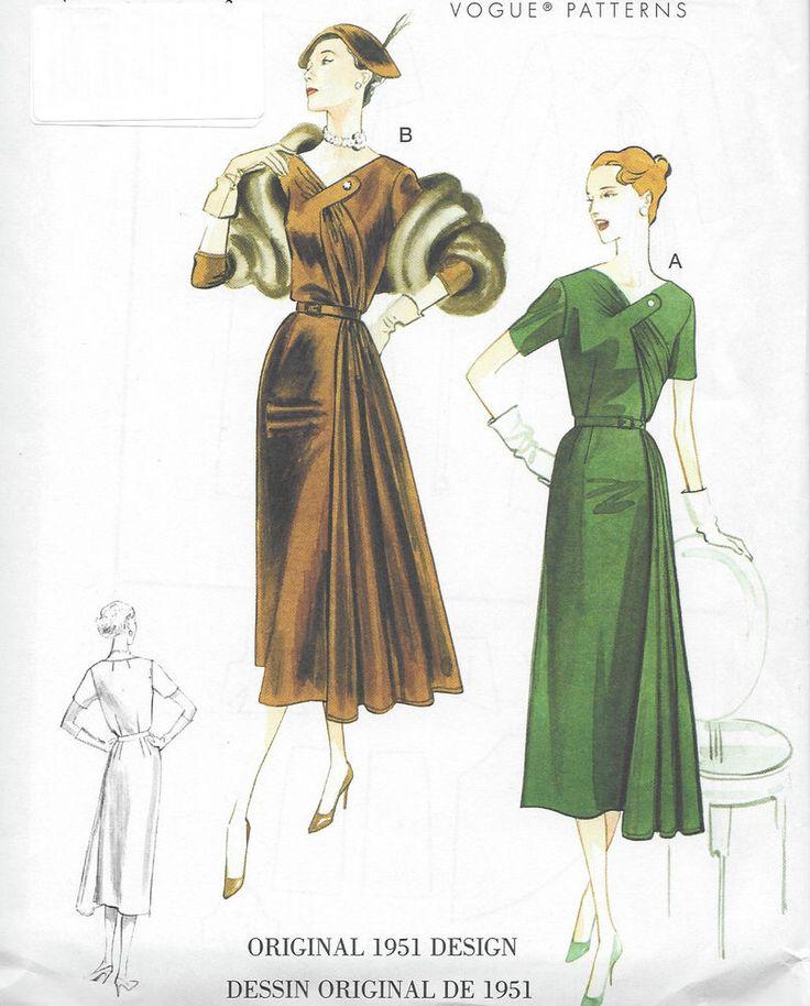 1951 Vintage VOGUE Sewing Pattern DRESS B38-40-42-44-46 (R796) #Vogue