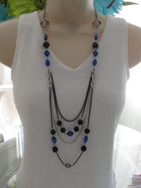 Collar negro y azul collar largo collar Multi por RalstonOriginals, $20.00