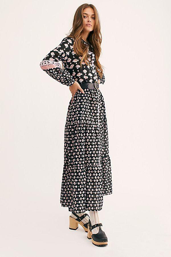09f426e212c6 Papillon Maxi Dress - Black Floral Long Sleeve Maxi Dress - Black Floral Maxi  Dress - Black Long Sleeve Maxi Dress - Boho Maxi Dresses - Long Sleeve Boho  ...