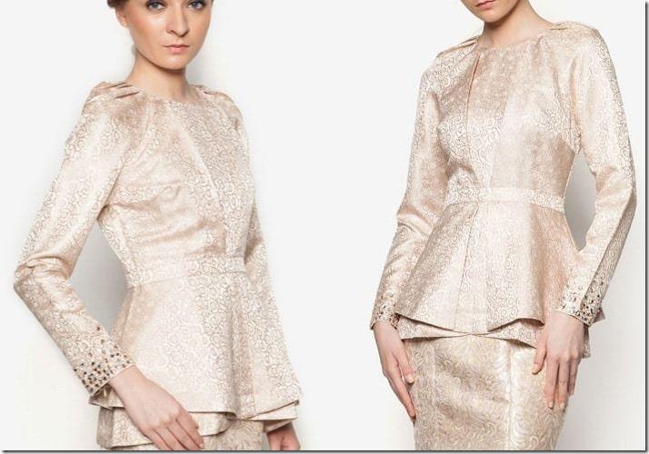 Baju Raya 2016 ~ Kebaya, Peplum, Kimono Style Blouse Ideas / beige-brocade-peplum-top