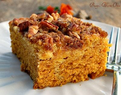Bunny's Warm Oven...Swirls of cream cheese in the cake with pecans and brown sugar adorning the top, did I mention moist and delicious? This is the perfect Pumpkin Cream Cheese coffee cake.