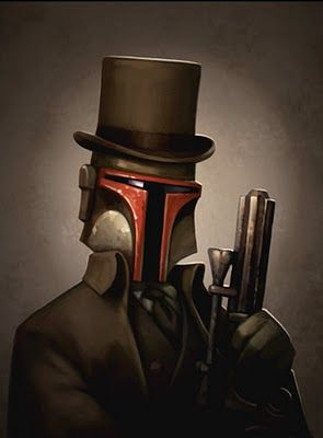 May the 4th be with you! A dapper, steampunky Boba Fett by Greg Peltz. Check out his website for more Star Wars prints.
