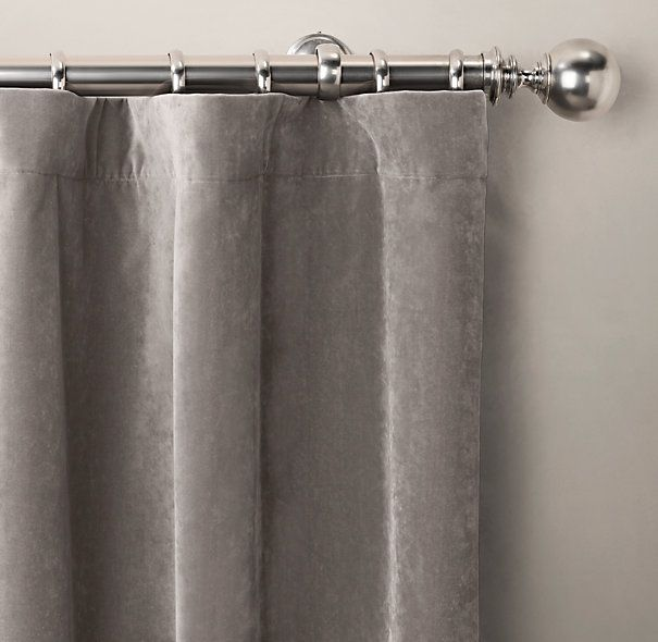 """Brushed Velvet Drapery in Fog Gray (Rod-Pocket on loop hook rings) $139+ per 50"""" x 84"""" panel...love the silver estate ball curtain rod and rings with this drape"""