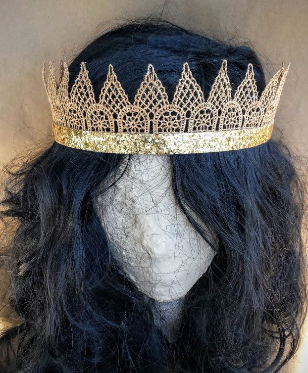 Gold Glitter Lace Crown for Adults; Festival Crown; Venice Lace Bridesmaid Crown; Gold Bachelorette Crown; Awesome Adult Crowns by HandmadeMKE on Etsy https://www.etsy.com/listing/292686859/gold-glitter-lace-crown-for-adults