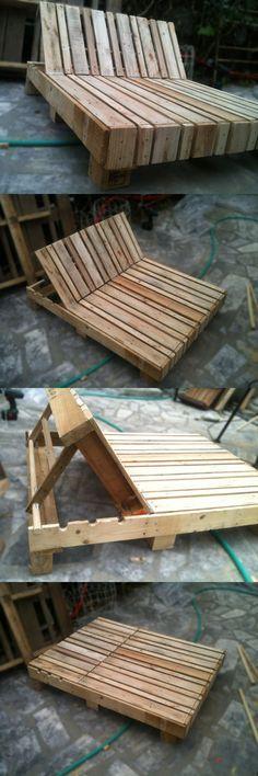 Große Lounge Liege für den Garten aus Paletten einfach selber bauen. Gartenliege aus Paletten DIY!