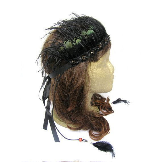 Feather Crown Festival Headband Gypsy Headpiece by curtainroad