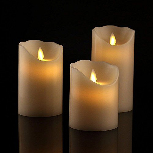 """Flameless Candles 4"""" 5"""" 6"""" Set of 3 Ivory Dripless Real W... http://www.amazon.com/dp/B0186RC8IA/ref=cm_sw_r_pi_dp_44Xsxb01VGQK8"""