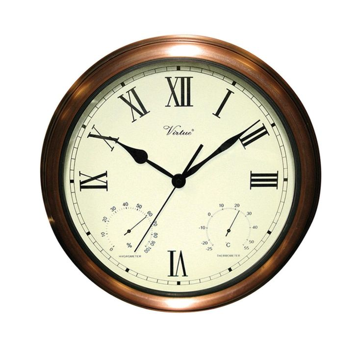 15 Battery Operated Copper Large Print Roman Numeral Outdoor Clock, Thermometer and Hygrometer, White