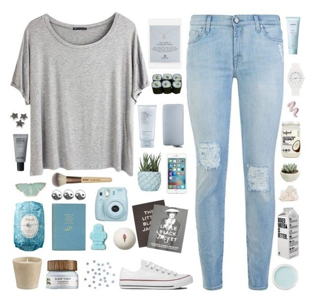 """""""✧In my heart I will always be sure"""" by annakathryne ❤ liked on Polyvore featuring 7 For All Mankind, Chicnova Fashion, Converse, Dogeared, Estée Lauder, Coach, Chen Chen & Kai Williams, Steidl, Jura and Crate and Barrel"""