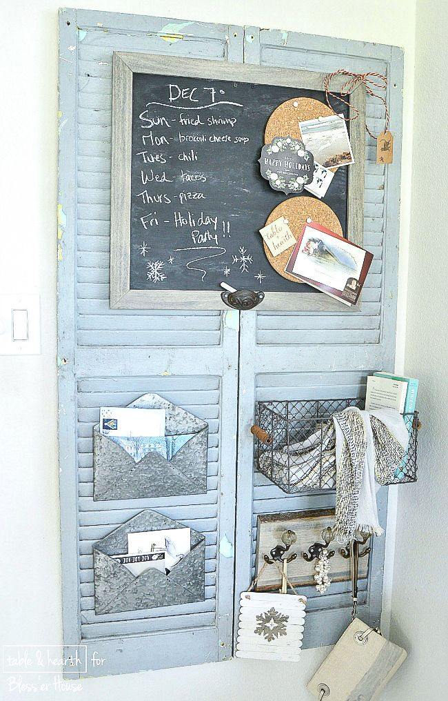 DIY Rustic Shutter Organizer | Table and Hearth for blesserhouse.com