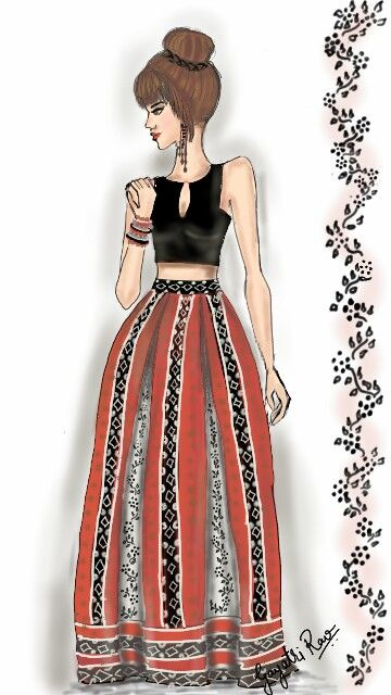 Printed Silk #boxPleat #maxiSkirt and Satin silk #CropTop.... My Next Sewing Project.... #fashion #sketch #illustration