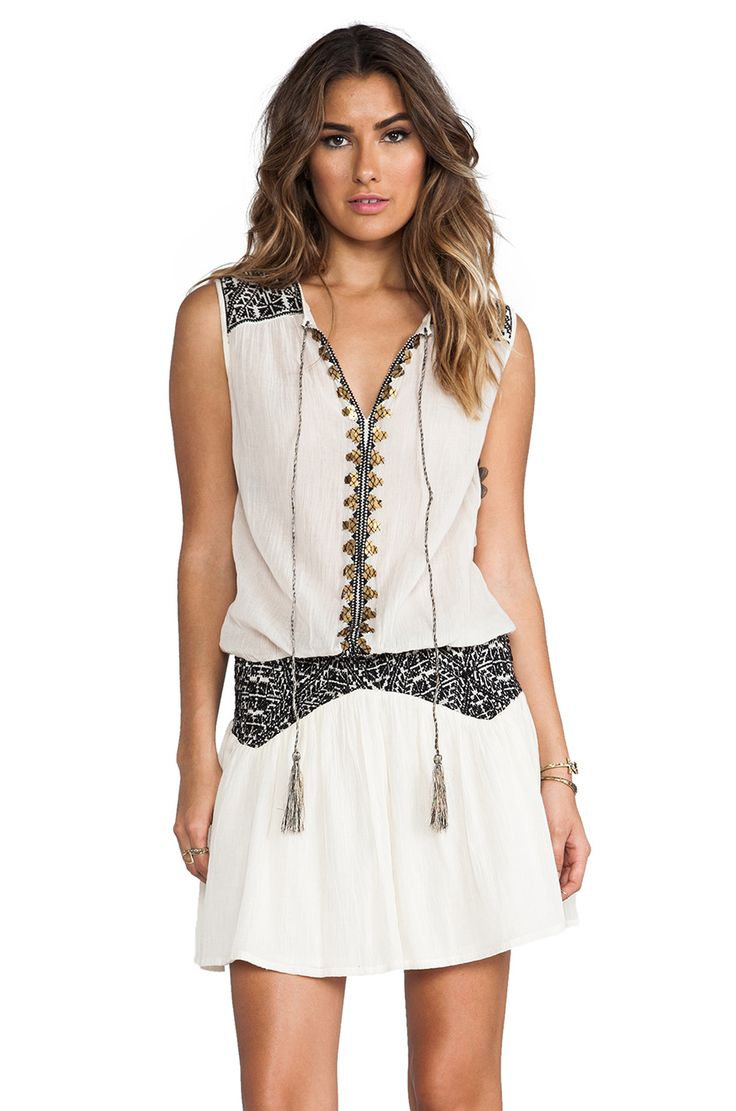 ba&sh Cragavon Embroidery Detailed Dress in Ecru & Noir from REVOLVEclothing