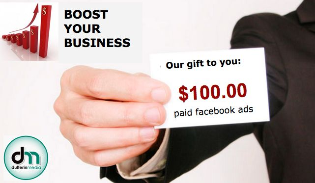 #Orangeville It is time to #boost your #business presence - online.  We can help. We are giving $100 of paid Facebook advertising to each new client who signs up for a #SocialMedia Package between now and May 15th. sales@dufferinmedia.com http://dufferinmedia.com/contact.php  *with the purchase of any package for 4 months **advertising will be spread over 4 months $25/ month ***Facebook ad will be to promote the number of likes to your business page