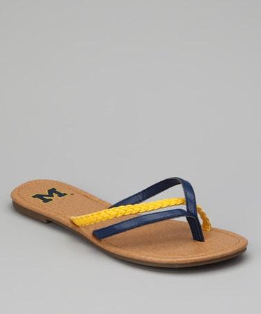 Maize & Blue Michigan Wolverines Crisscross Flip-Flop