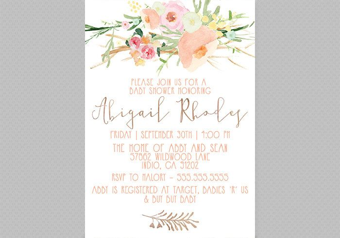 Watercolor Floral Baby Shower Invitation, Girl, Printable, Shabby Chic, Flower, Boho Baby Shower Invites [55] by DesignAndDonuts on Etsy https://www.etsy.com/listing/243193640/watercolor-floral-baby-shower-invitation