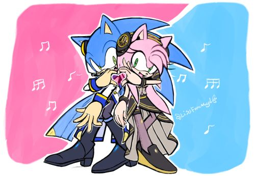 Sonic as Kaito and Amy as Luka♡