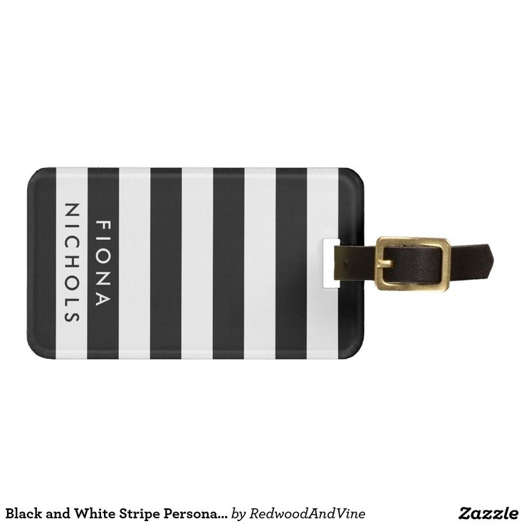 Black and White Stripe Personalised Luggage Tag