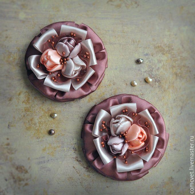 """Резинки для волос """"Мой десерт"""" - комбинированный, бордовый, серый, розовый, кремовый, коричневый"""