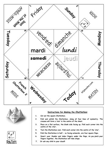 chatterbox game template in french - Google Search