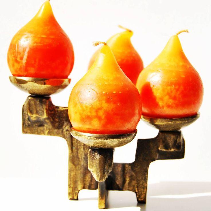Solid brass heavy west german candle holder #solid #solidmetal #metal #brass #heavy #heavymetal #brutalist #brutalistart #candleholder #midcentury #midcenturycandleholder #midcenturymodern #moderndesign #design #orange #sale #candle #westgerman