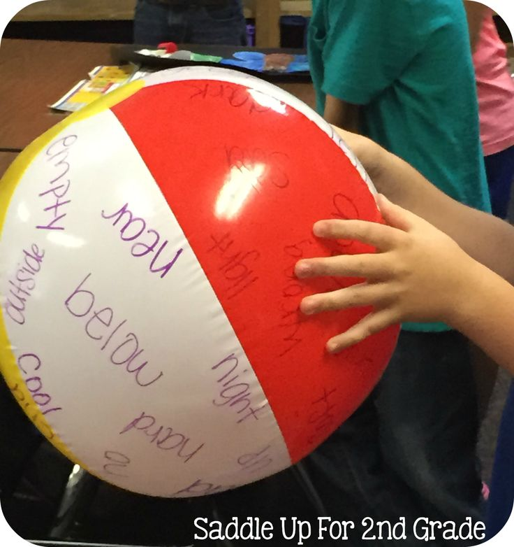 Beach Ball Vocabulary by Saddle Up. Students gently toss around the beach ball. Whatever word their thumb lands on, they must tell the definition, use it in a sentence, or give an example of the word.