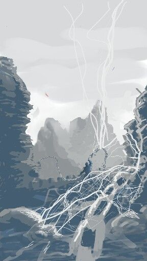 Chain Lightning. 30 min digital #speedpaint. Composition, scale training.Sketchbook Mobile, smartphone, finger.