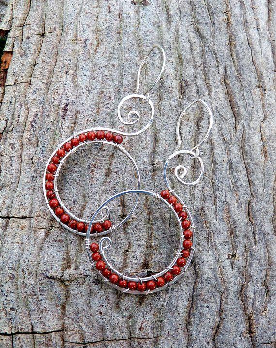 Red jasper swirl earrings - red earrings - boho jewelry -  sterling silver hoops - beach - rustic jewelry - natural - ready to ship via Etsy