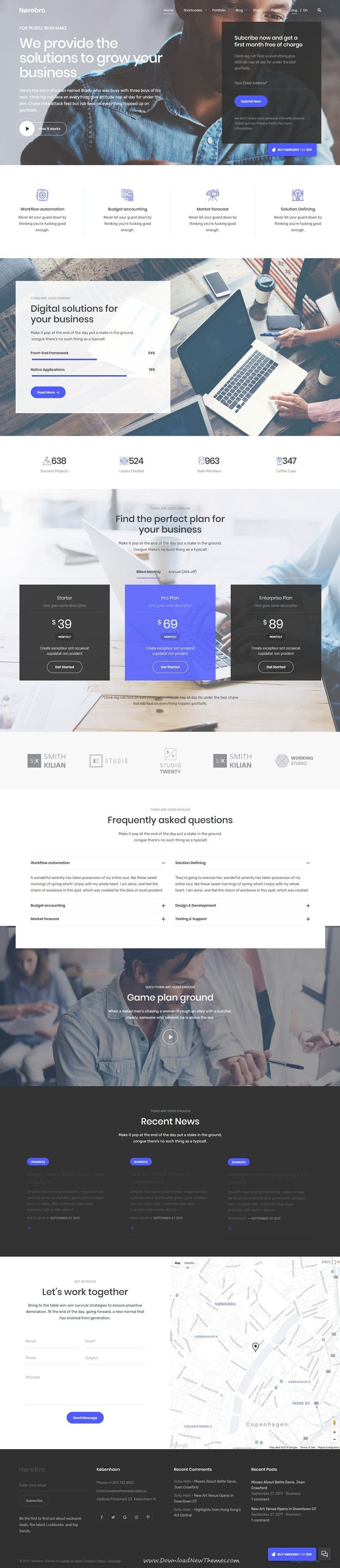 Norebro is clean and modern design responsive multipurpose #WordPress theme for #corporate business website with 30+ niche homepage layouts website to live preview & download click on Visit