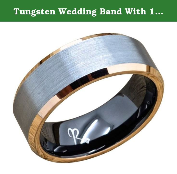 Tungsten Wedding Band With 18k Rose Gold and Black Plating, 8mm Wide Tungsten Ring, Comfort Fit, Brushed Finish (8.5). Tungsten Rings are one of the most popular bands in the world today. Tungsten Rings are the kind of rings which are very tough and very long lasting. Tungsten carbide rings provide comfort and the rings surface is scratch resistant for life. Recently Tungsten wedding rings have become very popular for Married and engaged couples to own versus the traditional wedding band....