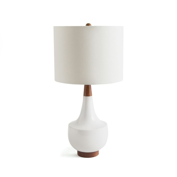 """Meet your new table lamp! The Donnywill be a fashionable accent piece for years to come with its cool ceramic & wood finishdesign. Lamp Dimensions: 8""""w x"""