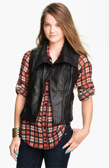 Coffee Shop Oversize Collar Faux Leather Vest (Juniors) available at #Nordstrom (E vest)