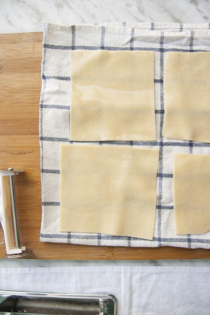 placas de pasta fresca para lasaña de calabaza y salsa barba rubia