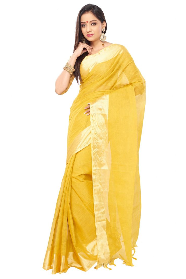 Golden color Indian Traditional Tant cotton saree with golden Zori Broder and unstitched blouse piece WITH Handloom mark
