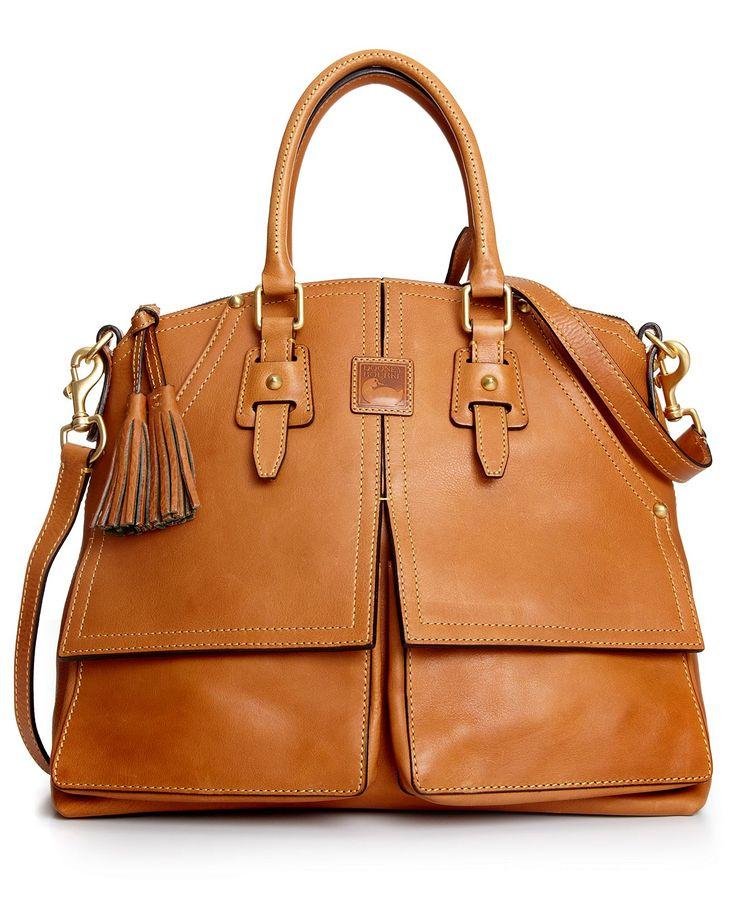 Dooney & Bourke Florentine Clayton Satchel Natural Italian Leather 8L419 New
