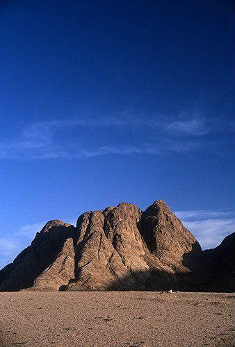 Egypt, Sinai, St Catherine, Mount Sinai, Jebel Musa from al-Raha plain