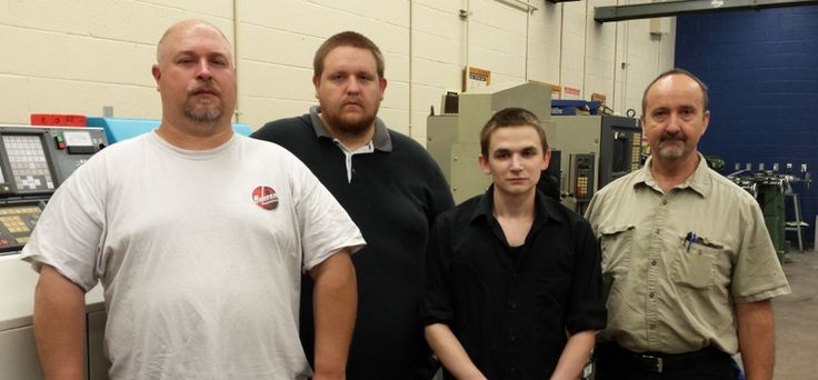 CCCTC's Precision Machine Technology Program recently had 3 adult students graduate with NIMS (National Institute for Metalworking Skills) Certifications. NIMS sets skills standards for the industry, certifies individual skills against the standards and accredits training programs that meet NIMS quality requirements.   Left to Right is Precision student graduates: Tyler Dillon, Scott Good, and Cody Mills. Instructor-Bruce Smith
