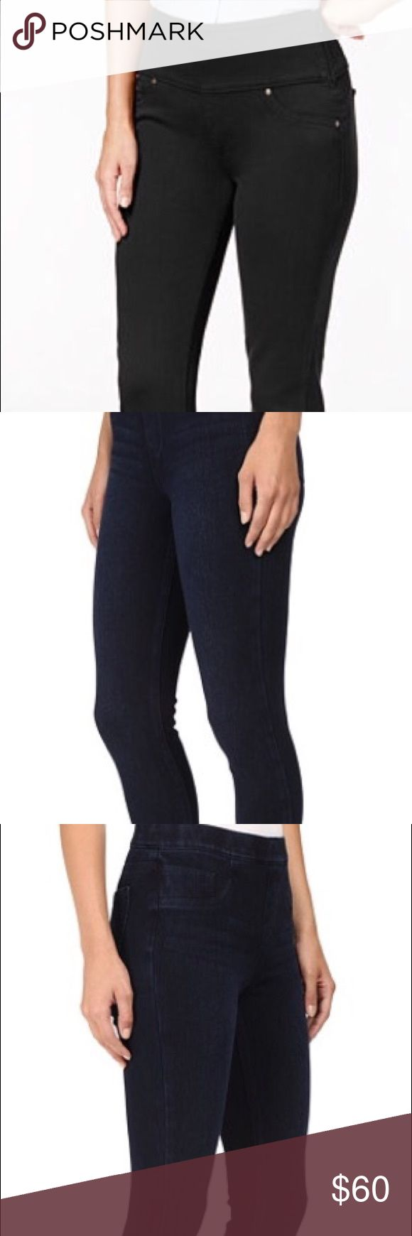 Spanx black denim leggings The slim's built in − Slim-X® shaping panel for comfortable smoothing. Light whiskering and light sanding visually slim. Deluxe fabric for a comfortable fit all day. Faux front pockets and functional back pockets offer the look of a classic five-pocket jean. Flattering full-length legging. Support Level: Shape. Body: 69% cotton, 26% polyester, 5% spandex. Size XL 14/16 SPANX Pants Leggings